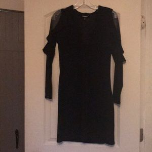 NWOT Express plunge neck black dress